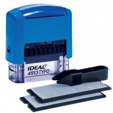Штамп самонаборный, 5-строчный, оттиск 58х22 мм, синий, без рамки, TRODAT IDEAL 4913 P2, корпус синий, кассы, 125428