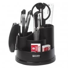 Канцелярский набор BRAUBERG Рапсодия, 10 предметов, вращающаяся конструкция, черный