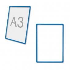 Рамка POS БОЛЬШОГО ФОРМАТА для рекламы и объявлений, А3, СИНЯЯ, без защитного экрана, 290254