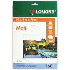 Фотобумага LOMOND для струйной печати, А4, 160 г/м2, 100 л., односторонняя матовая, 0102005