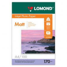 Фотобумага LOMOND для струйной печати, А4, 170 г/м2, 100 л., двухсторонняя матовая, 0102006