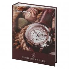Фотоальбом BRAUBERG на 200 фотографий 10х15 см, твердая обложка, Часы, коричневый, 390667