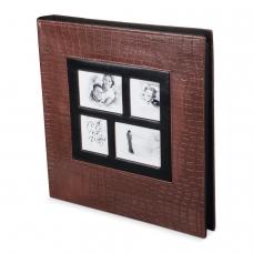 Фотоальбом BRAUBERG на 500 фотографий 10х15 см, обложка под кожу крокодила, рамка для фото, коричневый, 390715