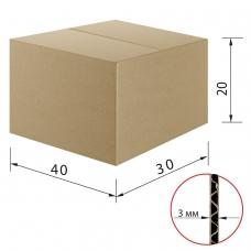 Гофроящик, длина 400 х ширина 300 х высота 200 мм, марка Т22, профиль В, FEFCO 0201 / ГОСТ, исполнение А
