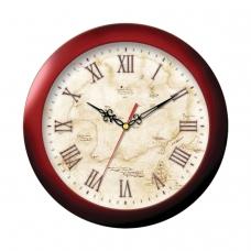 Часы настенные TROYKA 11131150, круг, бежевые с рисунком Карта, коричневая рамка, 29х29х3,5 см