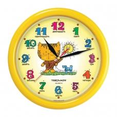 Часы настенные TROYKA 21250290, круг, желтые с рисунком Котенок, желтая рамка, 24,5х24,5х3,1 см