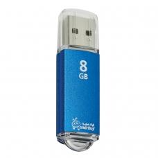 Флэш-диск 8 GB, SMARTBUY V-Cut, USB 2.0, металлический корпус, синий, SB8GBVC-B