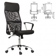 Кресло BRABIX Flash MG-302, с подлокотниками, хром, черное, 530867