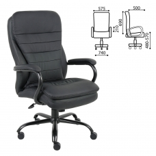 Кресло офисное BRABIX Heavy Duty HD-001, усиленная конструкция, нагрузка до 200 кг, экокожа, 531015