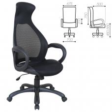 Кресло офисное BRABIX Genesis EX-517, пластик черный, ткань/экокожа/сетка черная, 531574