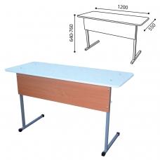 Стол-парта 2-местный регулируемый для кабинета физики, 1200х550х640-760 мм, рост 4-6, металл/ДСП, пластик мрамор