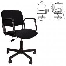 Кресло КР08, с подлокотниками, черное, КР01.00.08-101-