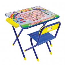 Стол детский + стул ДЭМИ, рост 2, складной, с пеналом, синий каркас, Алфавит