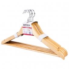 Вешалки-плечики, размер 48-50, КОМПЛЕКТ 5шт, деревянная, перекладина, цвет сосна, BRABIX Стандарт, 601159