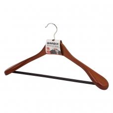 Вешалка-плечики, размер 48-50, деревянная, анатомическая, перекладина, цвет вишня, BRABIX Люкс, 601164