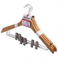 Вешалки-плечики, размер 48-50, КОМПЛЕКТ 3 шт., деревянная, клипсы для брюк, цвет сосна, BRABIX Стандарт, 601170