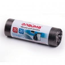 Мешки для мусора 30 л, черные, в рулоне 30 шт., ПНД, 8 мкм, 50х60 см ±5%, стандарт, ЛАЙМА, 601377