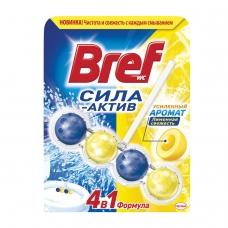 Освежитель WC для туалета твердый 50 г, BREF Бреф Сила-Актив, Лимонная свежесть