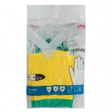 Перчатки хозяйственные латексные VILEDA с х/б напылением, особо прочные неопрен, размер L большой, 120269