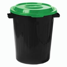 Контейнер 90 литров для мусора, БАК+КРЫШКА высота 64 см х диаметр 60 см, ассорти, IDEA, М 2394/СЕРЫЙ