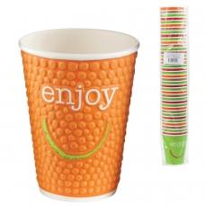 Одноразовые стаканы 300 мл, КОМПЛЕКТ 40 шт., бумажные однослойные, цветная печать, холодное/горячее, ХУХТАМАКИ ENJOY