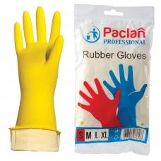 Перчатки хозяйственные резиновые PACLAN Professional, с х/б напылением, размер S малый, желтые