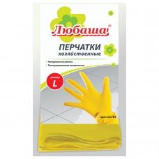 Перчатки хозяйственные латексные ЛЮБАША ЭКОНОМ, МНОГОРАЗОВЫЕ, хлопчатобумажное напыление, размер L большой, 603785