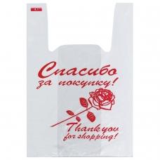 Пакеты майка, КОМПЛЕКТ 200 шт., 28+14х50 см, ПНД, Спасибо за покупку Роза, 12 мкм, ЮПЛАСТ, ЮМАЙ1006
