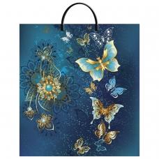 Пакет с пластиковой ручкой ПВД, 44х40 см, Золотые бабочки, 100 мкм, н00118004