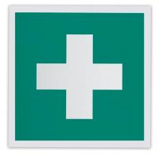 Знак Аптечка первой медицинской помощи, 200х200 мм, самоклейка, фотолюминесцентный, ЕС 01