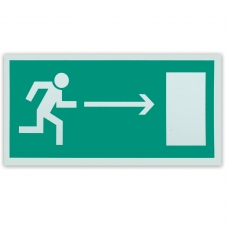 Знак эвакуационный Направление к эвакуационному выходу направо, 300х150 мм, самоклейка, фотолюминесцентный, Е 03
