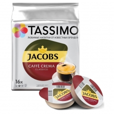 Капсулы для кофемашин TASSIMO JACOBS Caffe Crema, натуральный кофе, 16 шт. х 7 г