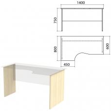 Опоры к столам эргономичным Канц 1400х800х750 мм, левый/правый, цвет дуб молочный, СК30.15.2