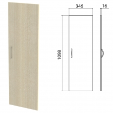 Дверь ЛДСП средняя Канц 346х16х1098 мм, цвет дуб молочный, ДК36.15