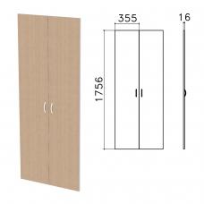 Дверь ЛДСП высокая Бюджет, КОМПЛЕКТ 2 шт., 355х16х1756 мм, орех онтарио, 402880-160